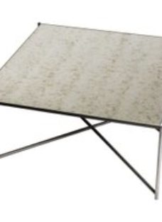 Gillmore Space Iris Antiqued Glass Top Square Coffee Table with Gun Metal Frame