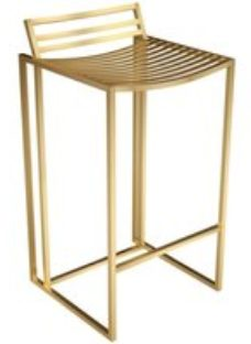 Gillmore Space Federico Bar Stool with Brass Brushed Frame