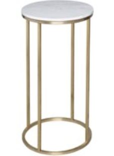 Gillmore Space Kensal White Marble and Brass Round Lamp Stand