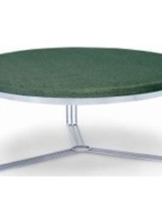 Gillmore Space Finn Conifer Green Woven Fabric and Chrome Large Round Footstool