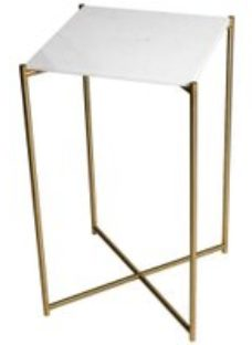 Gillmore Space Iris White Marble Top Square Plant Stand with Brass Frame