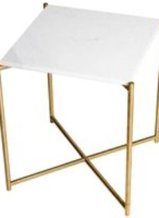 Gillmore Space Iris White Marble Top Square Side Table with Brass Frame