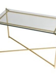 Gillmore Space Iris Clear Glass Top Rectangular Side Table with Brass Frame