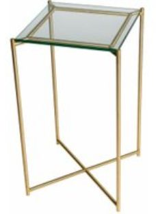 Gillmore Space Iris Clear Glass Top Square Plant Stand with Brass Frame