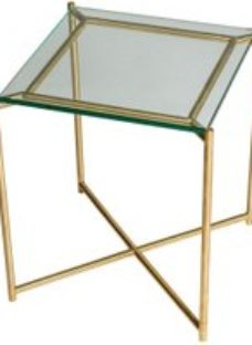 Gillmore Space Iris Clear Glass Top Square Side Table with Brass Frame