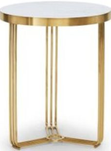 Gillmore Space Finn White Marble and Brass Brushed Round Side Table