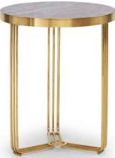 Gillmore Space Finn Dark Stone Laminate and Brass Brushed Round Side Table