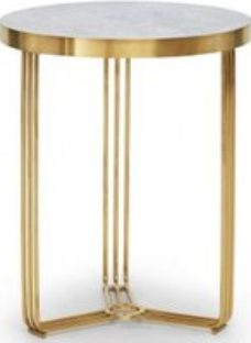 Gillmore Space Finn Pale Stone Laminate and Brass Brushed Round Side Table