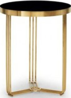 Gillmore Space Finn Black Glass and Brass Brushed Round Side Table