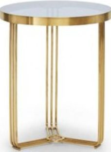 Gillmore Space Finn Smoked Glass and Brass Brushed Round Side Table