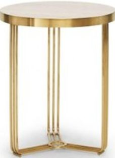 Gillmore Space Finn Pale Oak Laminate and Brass Brushed Round Side Table