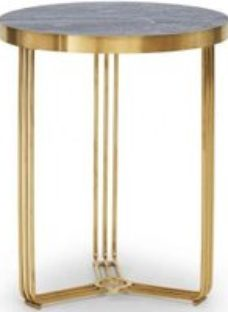 Gillmore Space Finn Dark Oak Laminate and Brass Brushed Round Side Table