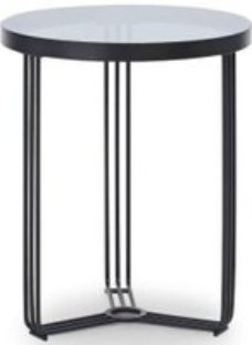 Gillmore Space Finn Smoked Glass and Black Matt Round Side Table