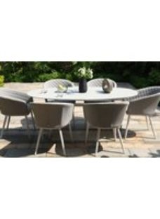 Maze Lounge Outdoor Ambition Lead Chine Fabric 6 Seat Oval Dining Set
