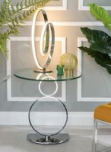 Urban Deco Rings Glass and Chrome Side Table