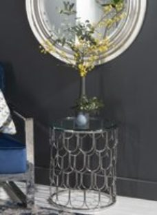 Riviera Glass and Chrome Round Side Table