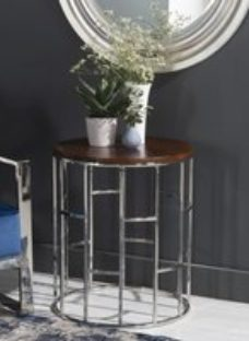 Zion Wood and Chrome Round Side Table