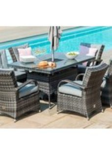 Maze Rattan Flat Weave Texas Grey Dining Table with Ice Bucket and 6 Chair