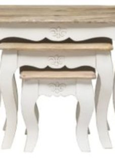 Urban Deco Fleur French Style Distressed White Nest of 3 Tables