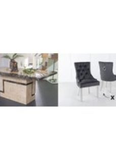 Urban Deco Venice 180cm Cream Marble Dining Table and 6 Knockerback Black Chairs with Chrome Legs