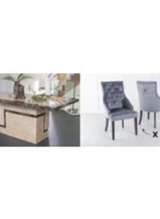 Urban Deco Venice 180cm Cream Marble Dining Table and 6 Large Knockerback Grey Chairs