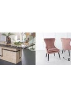Urban Deco Venice 180cm Cream Marble Dining Table and 6 Mason Pink Chairs
