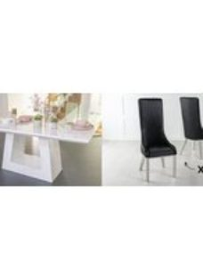 Urban Deco Milan 180cm White Marble Dining Table and 6 Allure Black Chairs