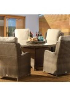 Desser Clinton Mink 6 Seat Rattan Outdoor Dining Set with Glass Top Table and Lazy Susan
