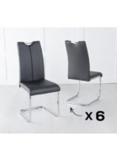 Set of 6 Nikko Black Faux Leather Dining Chair