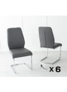 Set of 6 Oslo Dark Grey Faux Leather Dining Chair