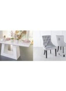 Urban Deco Milan 200cm White Marble Dining Table and 6 Lion Head Light Grey Chairs