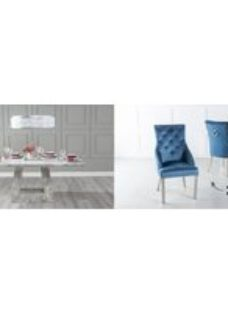Urban Deco Milan 160cm Grey Marble Dining Table and 6 Large Knockerback Blue Chairs with Chrome Legs
