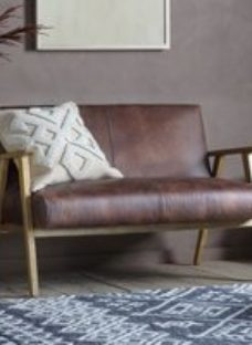 Gallery Neyland Vintage Brown Leather 2 Seater Sofa