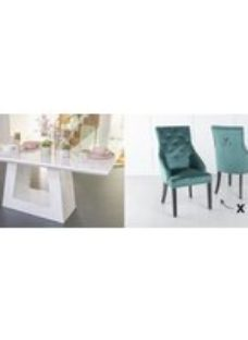 Urban Deco Milan 180cm White Marble Dining Table and 6 Large Knockerback Green Chairs