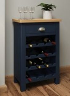 Portland Oak and Blue Painted 1 Drawer Wine Cabinet