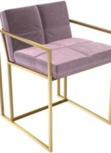 Gillmore Space Federico Blush Velvet Chair with Brass Brushed Frame