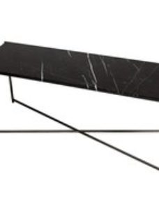 Gillmore Space Iris Black Marble Top Large Low Console Table with Gun Metal Frame