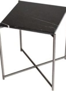 Gillmore Space Iris Black Marble Top Square Side Table with Gun Metal Frame