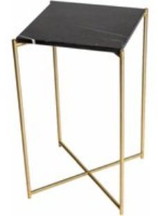 Gillmore Space Iris Black Marble Top With Brass Frame Plant Stand - Square