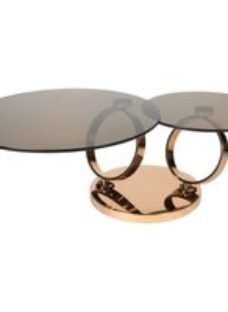 Greenapple Eclipse Rotating Coffee Table - Smoked Glass and Rose Gold