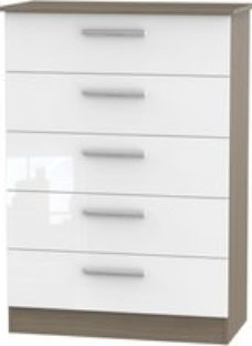 Contrast High Gloss 5 Drawer Chest - White and Toronto