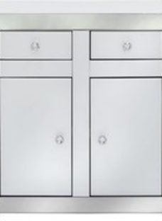Salerno White and Clear Mirrored Cabinet - 2 Door 2 Drawer