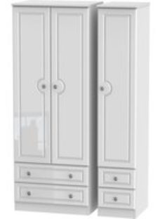 Pembroke 3 Door Triple Wardrobe - Tall with Drawer - High Gloss White