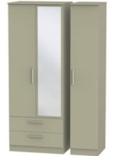 Contrast Mushroom 3 Door Triple Wardrobe - Tall with 2 Drawer and Mirror