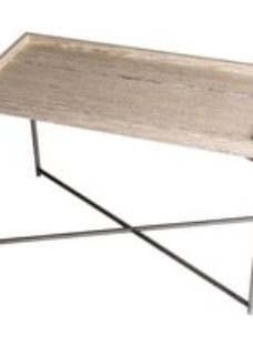 Stockwell Weathered Oak Tray Top Rectangular Side Table with Gun Metal Frame