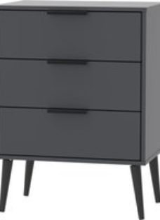 Hong Kong Graphite 3 Drawer Chest with Wooden Legs