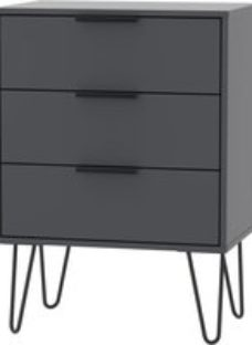 Hong Kong Graphite 3 Drawer Chest with Hairpin Legs