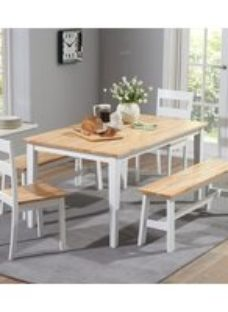 Mark Harris Chichester Large Dining Table with 2 Chairs and 2 Benches - Oak and White