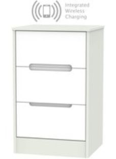 Monaco 3 Drawer Bedside Cabinet with Integrated Wireless Charging - White and Kaschmir