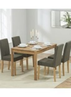 Mark Harris Promo Solid Oak Dining Set - 120cm with 4 Maiya Brown Chairs